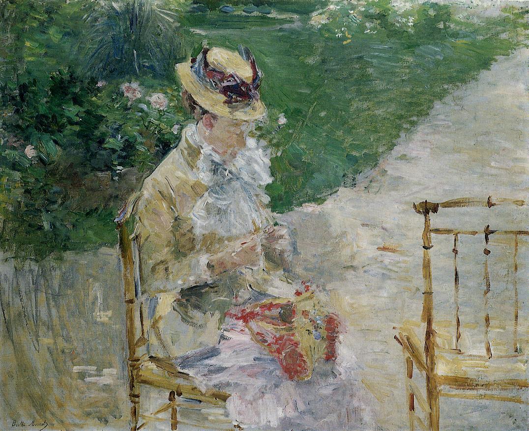 Молодая женщина с вязанием.