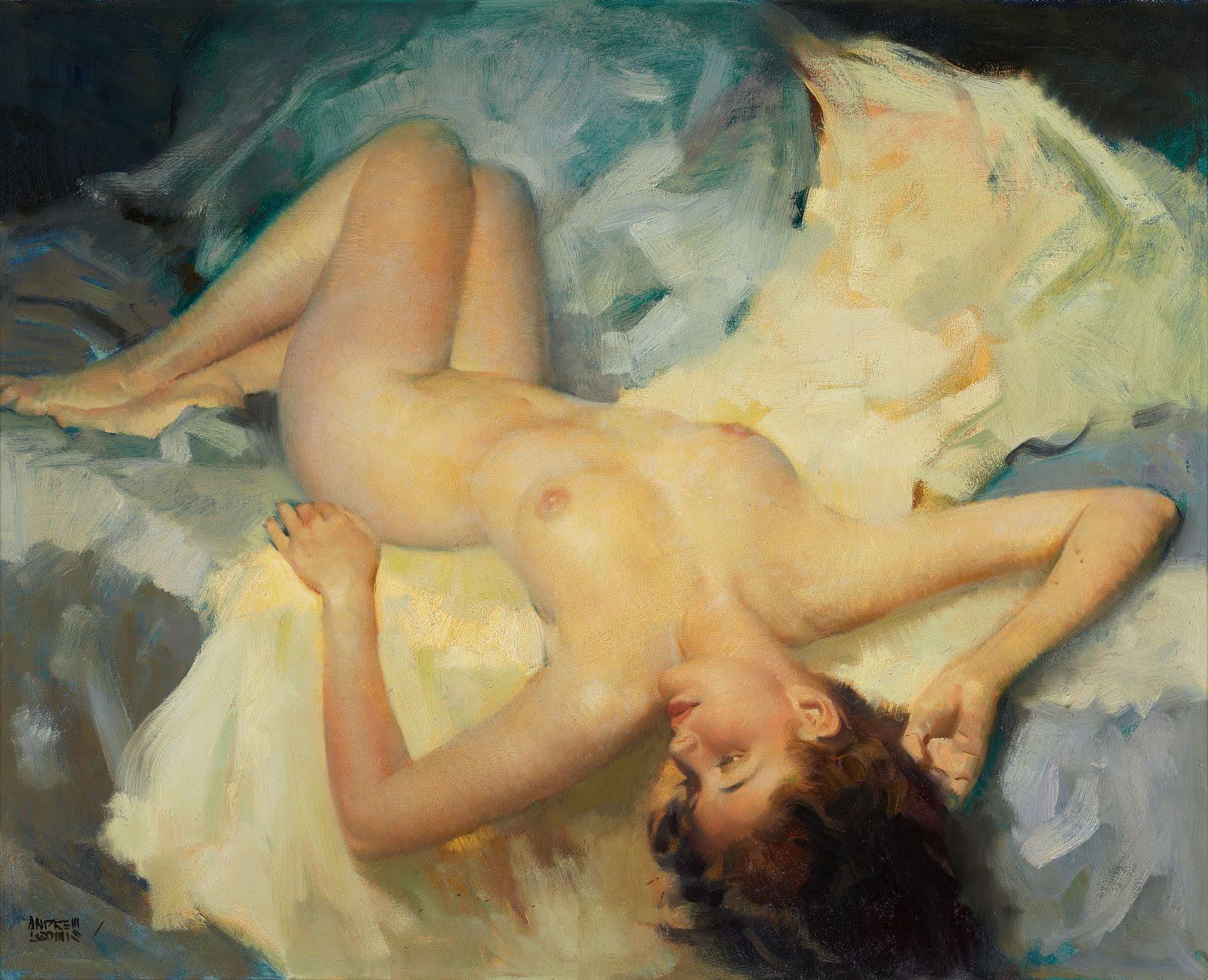 Художник рисует голую девушку 3 фотография