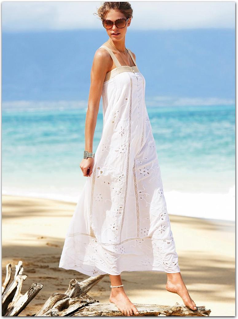 Белый длинный сарафан